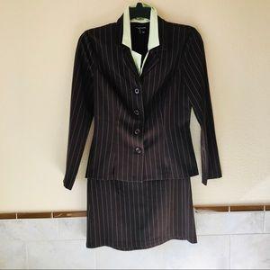 Womens Career Suit 2 Piece Jacket & Skirt Brown